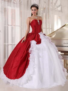 Wonderful Wine Red and White Sweet 16 Dress Sweetheart Organza and Taffeta Beading Ball Gown