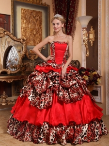 Brand New Red Sweet 16 Dress Strapless Taffeta and Leopard Pick-ups Ball Gown