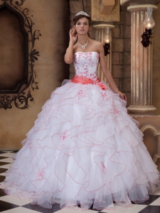 Brand New White Sweet 16 Dress Strapless Organza Embroidery Ball Gown