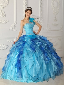 Discount Aqua Blue Sweet 16 Dress One Shoulder Satin and Organza Beading Ball Gown