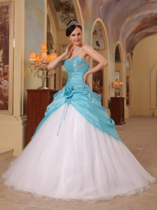 A-Line Sweetheart Beading Sweet 16 Quinceanera Gown Aqua ...