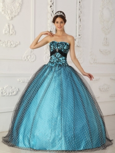 Discount Black and Blue Sweet 16 Dress Strapless Taffeta and Tulle Beading and Appliques Ball Gown