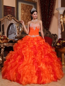Discount Orange Sweet 16 Dress Sweetheart Organza Appliques and Beading Ball Gown