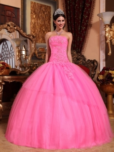 Discount Rose Pink Sweet 16 Dress Strapless Tulle Appliques with Beading Ball Gown
