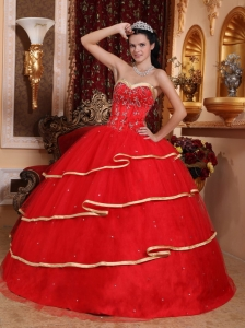 Elegant Red Sweet 16 Dress Sweetheart Satin and Tulle Beading Ball Gown