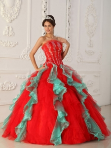 Elegant Red and Green Sweet 16 Dress Strapless Appliques and Beading Ball Gown