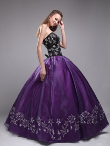 Exclusive Eggplant Purple Sweet 16 Dress Sweetheart Orangza Embroidery Ball Gown