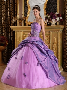 Exclusive Lavender Sweet 16 Dress Strapless Taffeta Beading Ball Gown