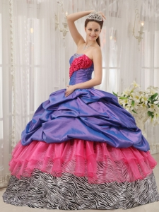 Exclusive Sweet 16 Dress Taffeta and Zebra Strapless Beading Ball Gown