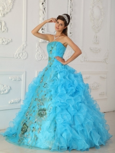 Exquisite Aqua Blue Sweet 16 Quinceanera Dress Strapless Embroidery Ball Gown