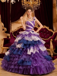 Gorgeous Perfect Sweet 16 Dress One Shoulder Ruffles / Princess