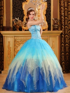 Gorgeous Sweet 16 Dress Sweetheart Beading Satin and Organza Multi-color Ball Gown