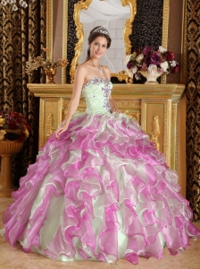 Latest Fuchsia and Apple Green Sweet 16 Dress Sweetheart Organza Appliques Ball Gown