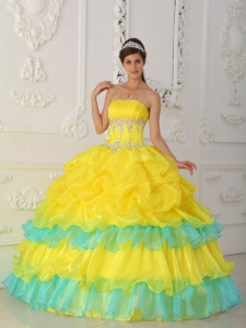 Luxurious Yellow Sweet 16 Dress Strapless Organza Beading and Ruffles Ball Gown