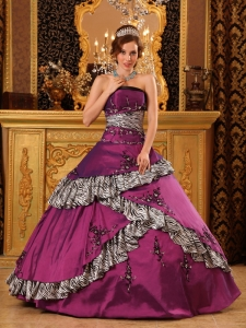Pretty Purple Sweet 16 Quinceanera Dress Strapless Taffeta Embroidery