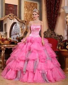 Remarkable Rose Pink Sweet 16 Dress Sweetheart Organza Beading Ball Gown