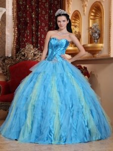 Romantic Aqua Blue Sweet 16 Dress Sweetheart Tulle Beading Ball Gown