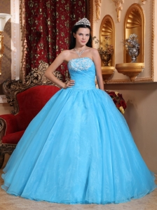 Romantic Baby Blue Sweet 16 Dress Strapless Organza Appliques Ball Gown