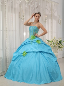 Romantic Baby Blue Sweet 16 Dress Strapless Taffeta Beading and Hand Flowers Ball Gown
