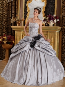 Romantic Gray Sweet 16 Quinceanera Dress Strapless Taffeta Appliques Ball Gown
