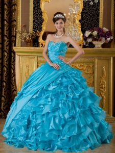 The Most Popular Teal Sweet 16 Dress Sweetheart Taffeta and Organza Appliques Ball Gown