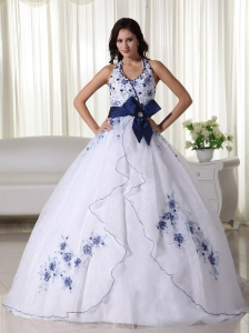 White Ball Gown Halter Floor-length Organza Appliques Sweet 16 Dress