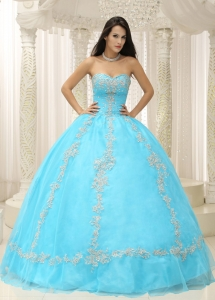 Aqua Blue Sweetheart Appliques and Beaded Decorate For 2013 Sweet 16 Dress