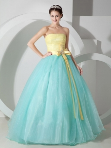 Baby Blue and Yellow Ball Gown Strapless Quinceanea Dress Organza Sash and Ruch Floor-length