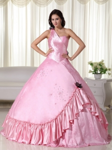 Baby Pink Ball Gown One Shoulder Floor-length Taffeta Beading Sweet 16 Dress