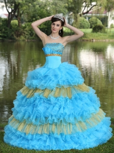 Beaded Decorate Bust Sequins Organza Aqua Blue and Yellow Strapless Floor-length Tiered Sweet Sweet 16 Dress For 2013
