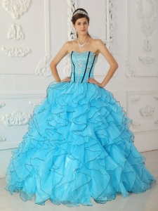 Beautiful Baby Blue Sweet 16 Dress Strapless Organza Appliques Ball Gown