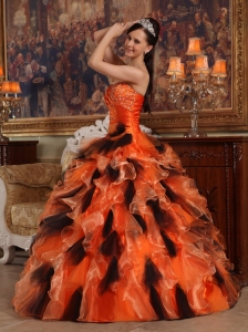 Beautiful Orange and Black Sweet 16 Dress Strapless Organza Ball Gown