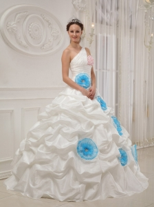 Beautiful White Sweet 16 Dress One Shoulder Taffeta Beading and Hand Flowers Ball Gown
