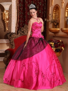 Brand New Hot Pink Sweet 16 Dress Sweetheart Satin Embroidery with Beading Ball Gown