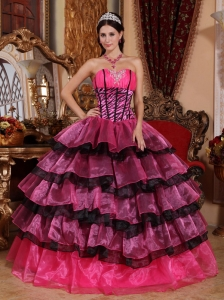 Brand New Multi-color Sweet 16 Dress Sweetheart Organza Ruffles Ball Gown