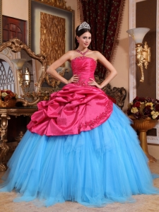 Brand New Red and Blue Sweet 16 Dress Strapless Appliques with Beading Ball Gown