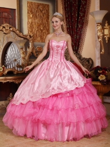 Brand New Rose Pink Sweet 16 Dress Sweetheart Taffeta and Oragnza Embroidery Ball Gown