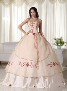 Champagne Ball Gown Sweetheart Floor-length Organza Embroidery Sweet 16 Dress