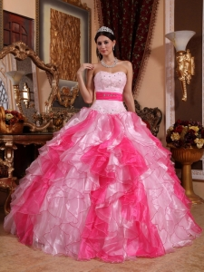 Cheap Hot and Baby Pink Sweet 16 Dress Sweetheart Organza Beading and Ruch Ball Gown