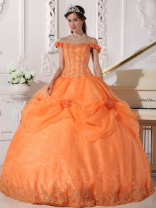Chic Orange Sweet 16 Dress Off The Shoulder Taffeta and Organza Appliques and Hand Made Flowers Ball Gown