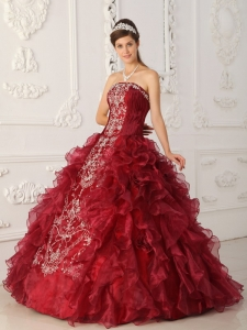 Classical Wine Red Sweet 16 Dress Strapless Satin and Organza Embroidery Ball Gown