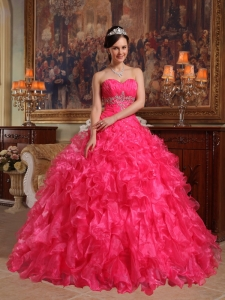 Cute Hot Pink Sweet 16 Quinceanera Dress Sweetheart Organza Beading Ball Gown