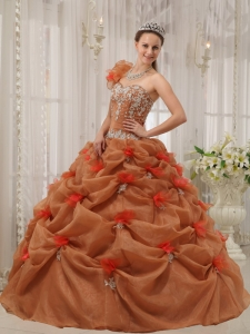Discount Rust Red Sweet 16 Dress One Shoulder Organza Appliques Ball Gown