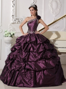 Fashionable Dark Purple Sweet 16 Dress One Shoulder Taffeta Appliques and Pick-ups Ball Gown