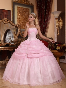 Gorgeous Baby Pink Sweet 16 Dress Strapless Organza Appliques Ball Gown