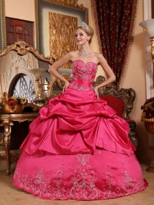 Impression Hot Pink Sweet 16 Dress Sweetheart Taffeta Embroidery with Beading Ball Gown