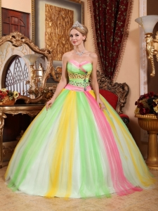 Latest Multi-color Sweet 16 Dress Sweetheart Tulle Beading Ball Gown