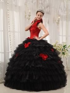 Modest Red and Black Sweet 16 Dress Halter Taffeta and Organza Hand Flowers Ball Gown
