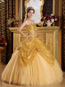 New Gold Sweet 16 Dress Sweetheart Sequined and Tulle Handle Flowers Ball Gown
