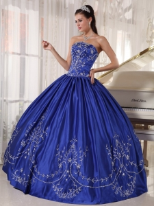 Popular Blue Sweet 16 Quinceanera Dress Strapless Satin Embroidery Ball Gown